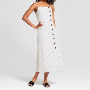 NWT Plus Pinstripe Midi Button Up Dress